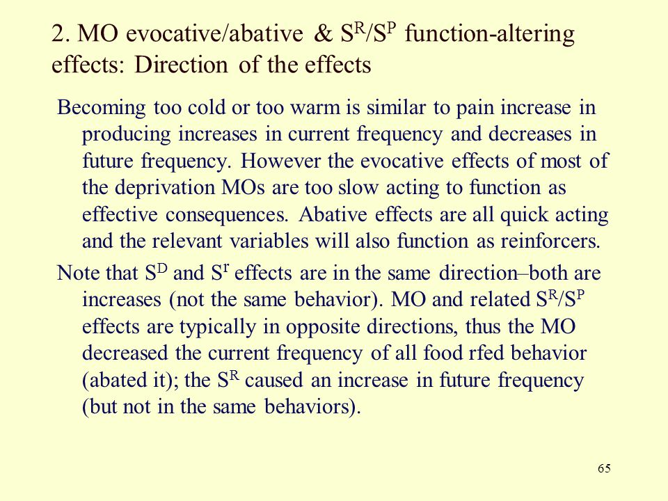 2. MO evocative/abative & SR/SP function-altering effects: Direction of the effects