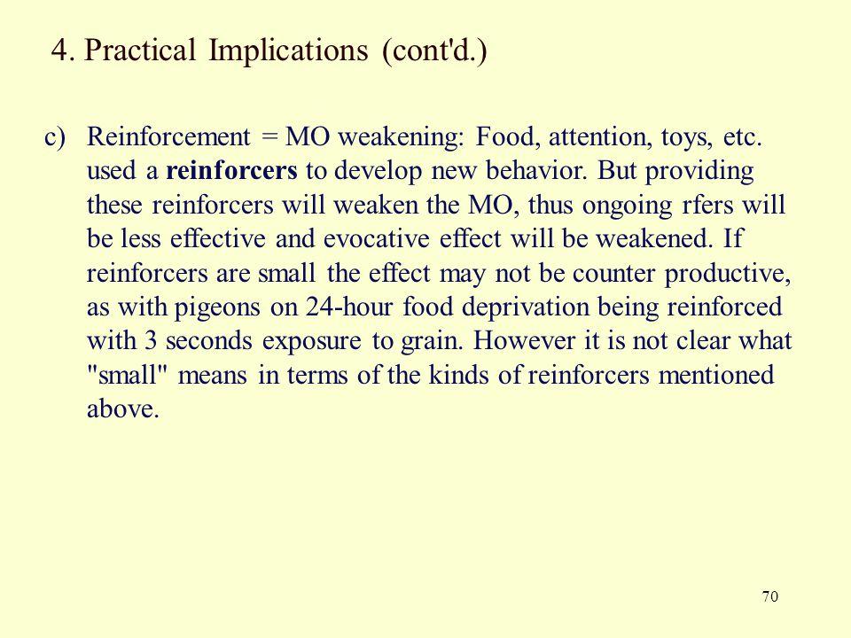 4. Practical Implications (cont d.)