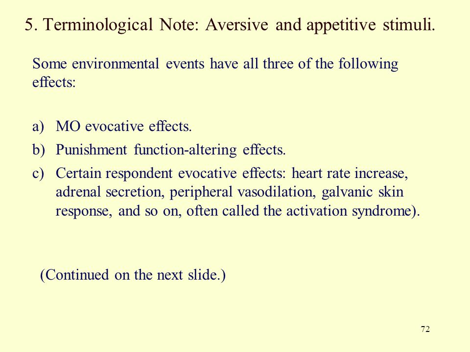5. Terminological Note: Aversive and appetitive stimuli.