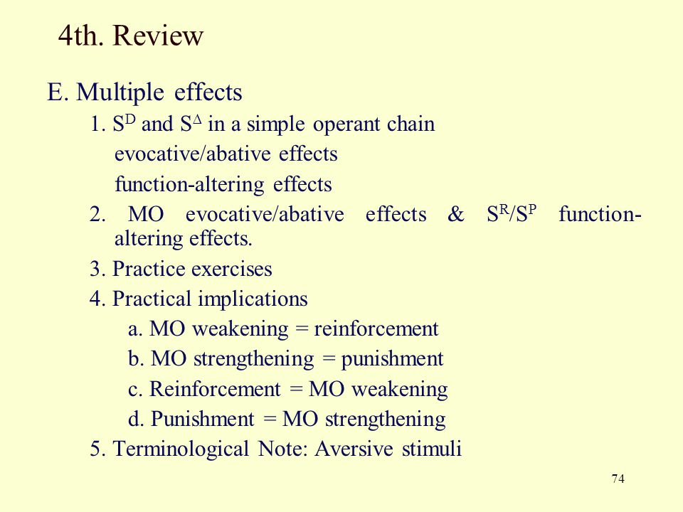 4th. Review E. Multiple effects 1. SD and S∆ in a simple operant chain