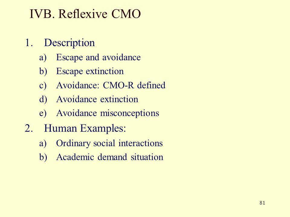 IVB. Reflexive CMO Description Human Examples: Escape and avoidance