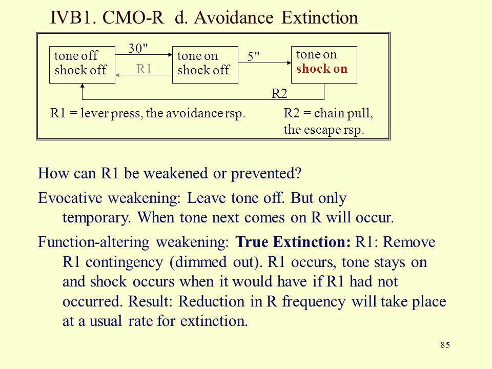 IVB1. CMO-R d. Avoidance Extinction