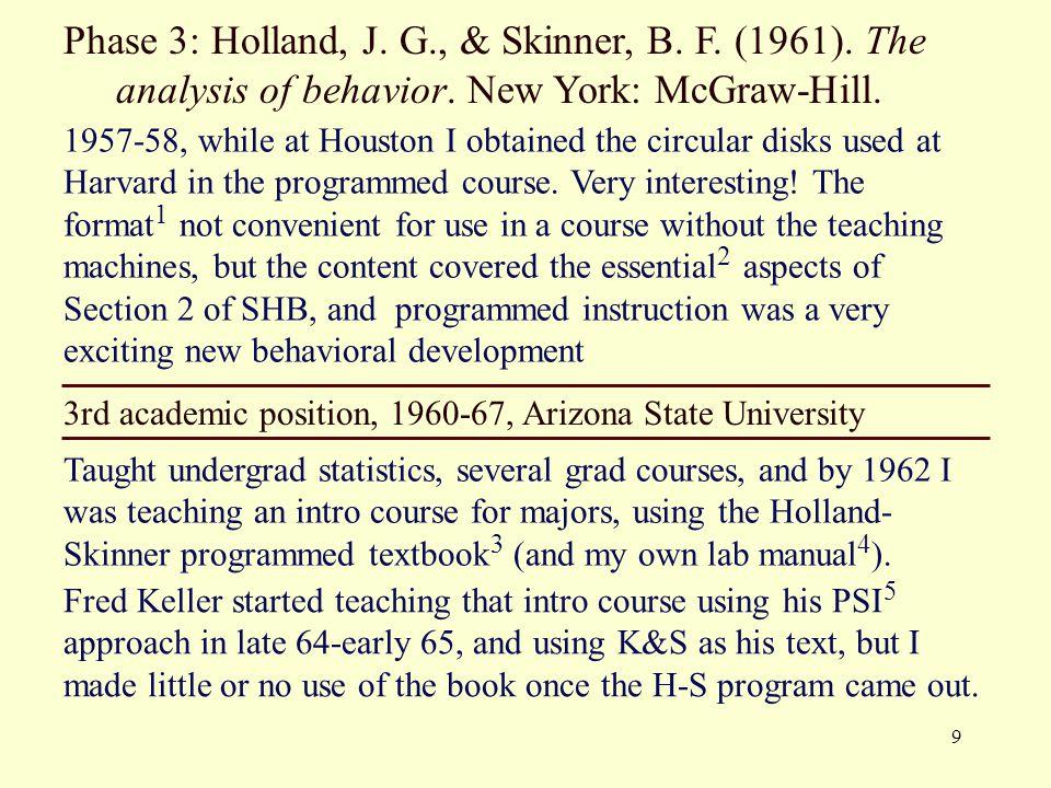 Phase 3: Holland, J. G. , & Skinner, B. F. (1961)