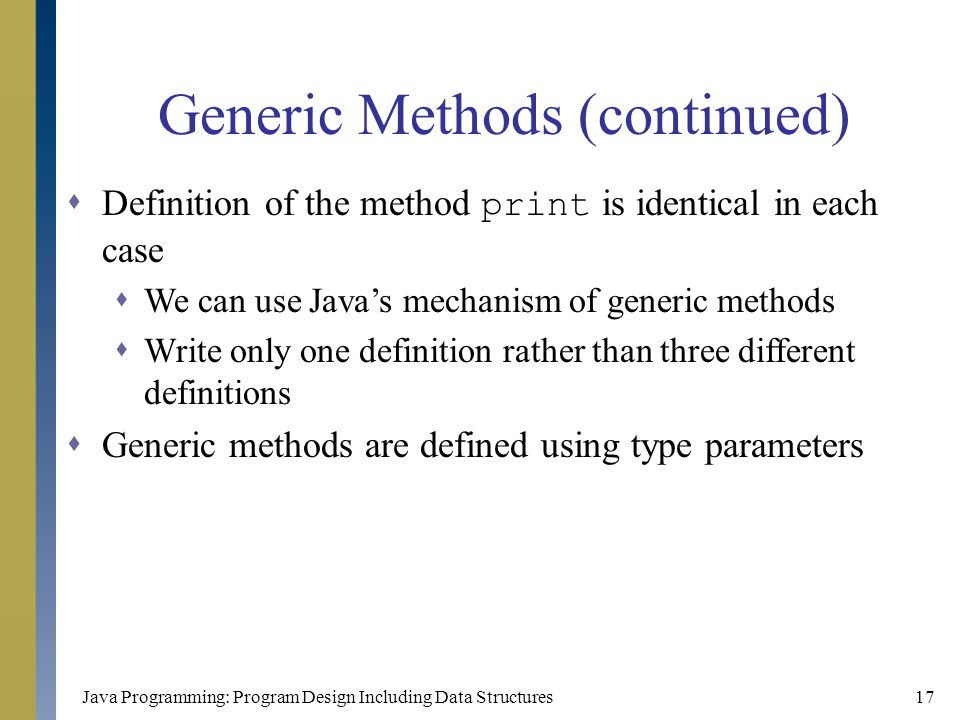 Generic Methods (continued)