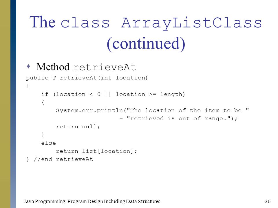 The class ArrayListClass (continued)