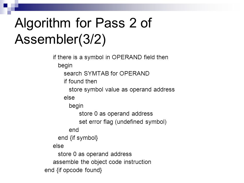 Algorithm for Pass 2 of Assembler(3/2)