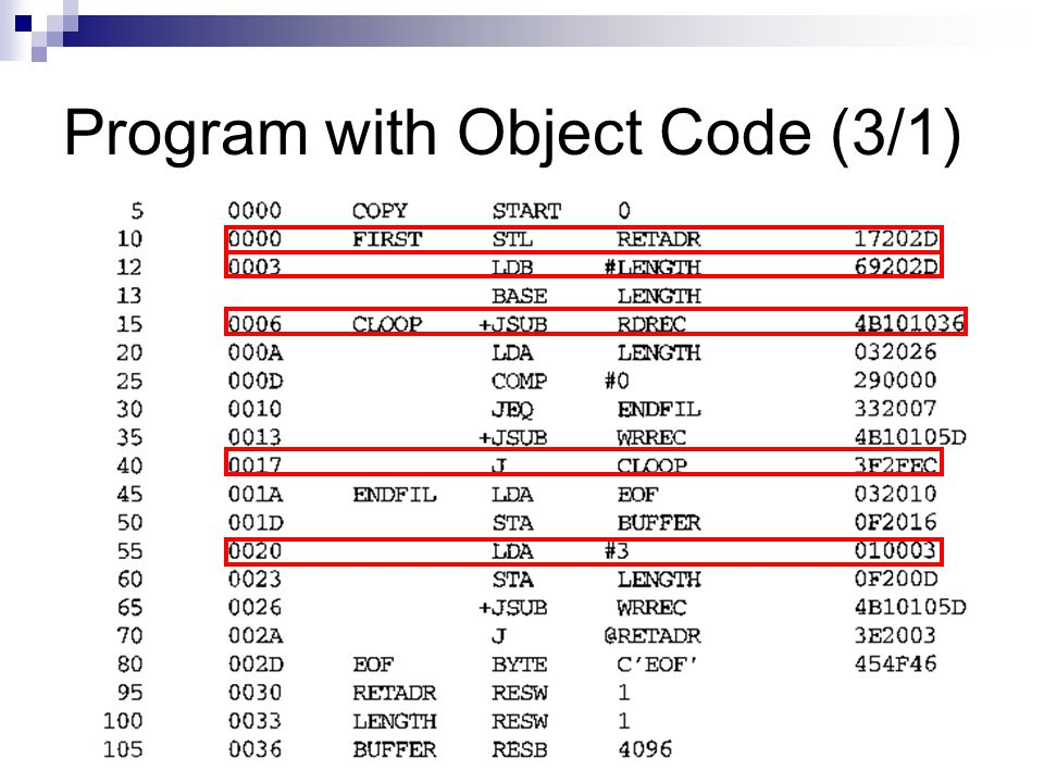 Program with Object Code (3/1)