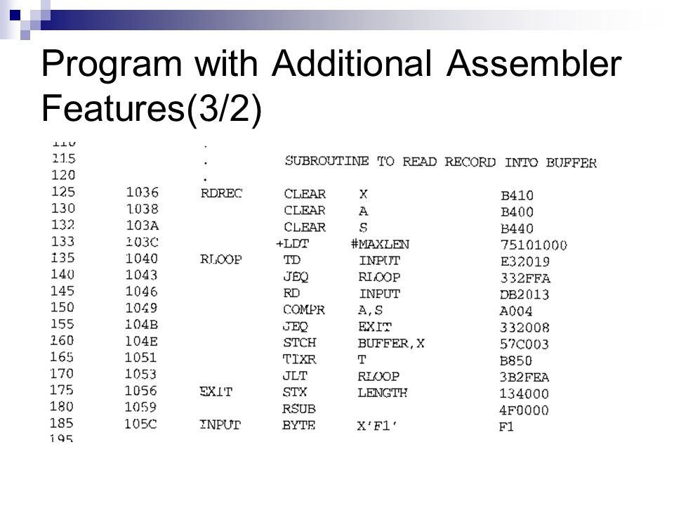 Program with Additional Assembler Features(3/2)