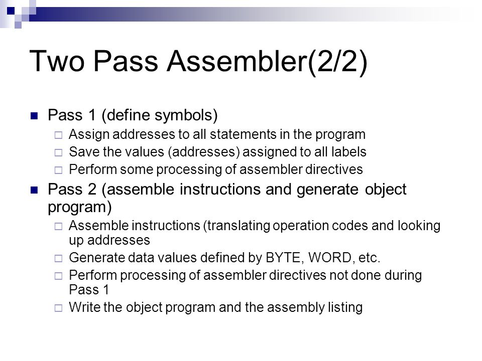 Two Pass Assembler(2/2) Pass 1 (define symbols)