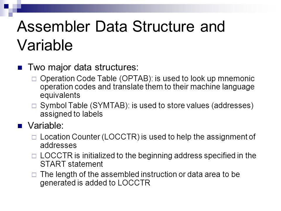 Assembler Data Structure and Variable