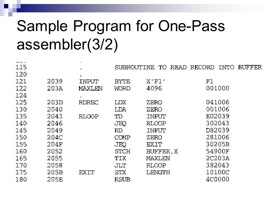 Sample Program for One-Pass assembler(3/2)