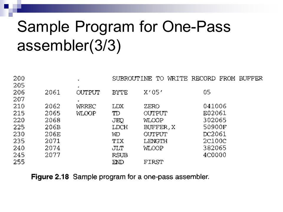 Sample Program for One-Pass assembler(3/3)