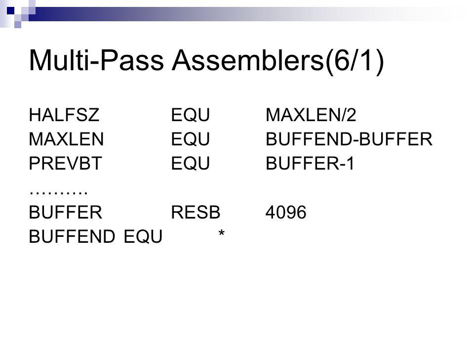 Multi-Pass Assemblers(6/1)