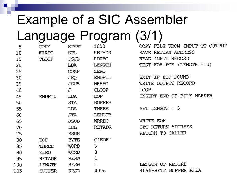 Example of a SIC Assembler Language Program (3/1)