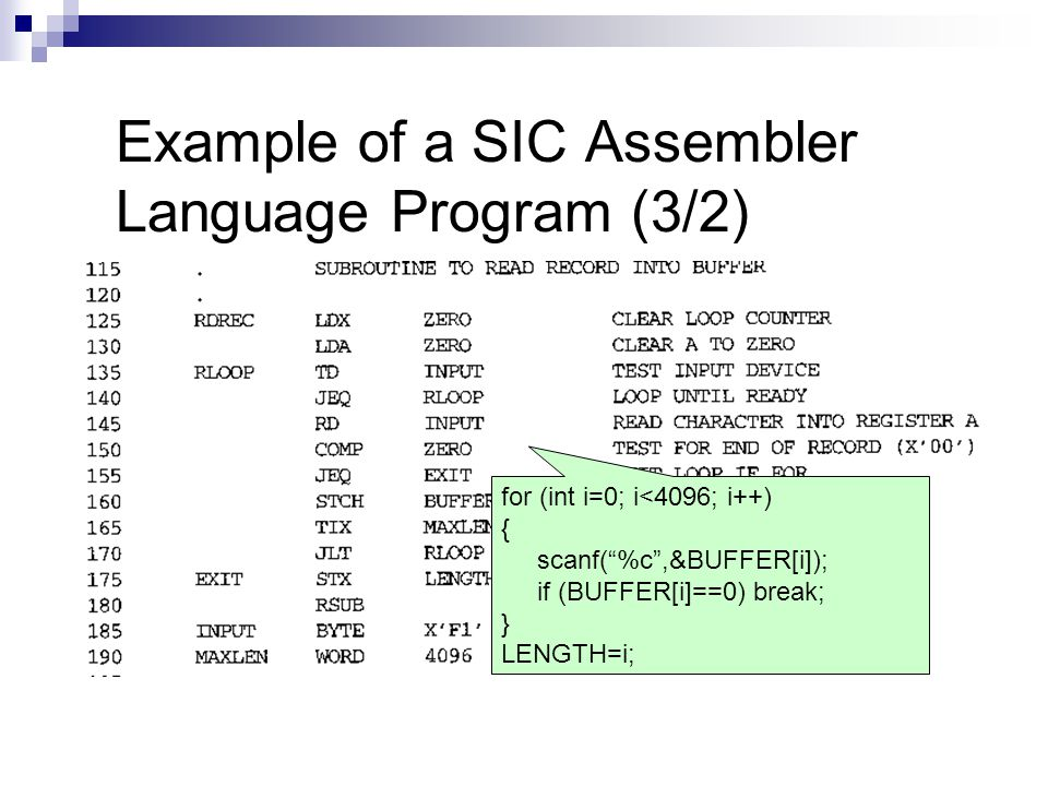 Example of a SIC Assembler Language Program (3/2)