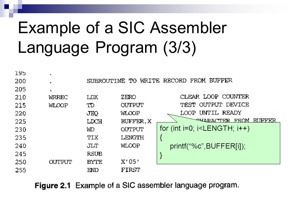 Example of a SIC Assembler Language Program (3/3)