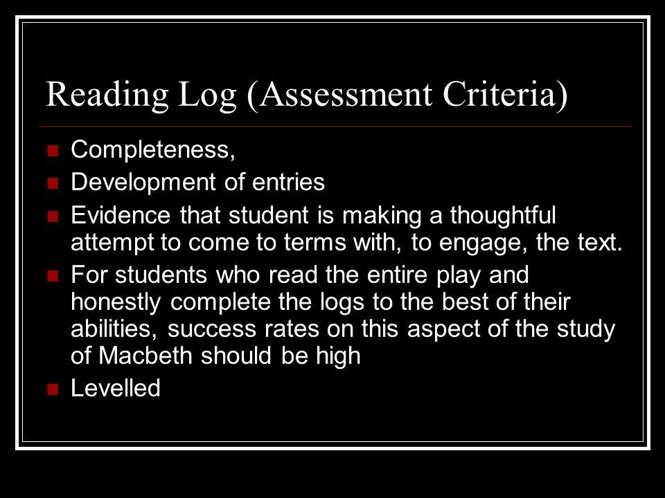 Reading Log (Assessment Criteria)