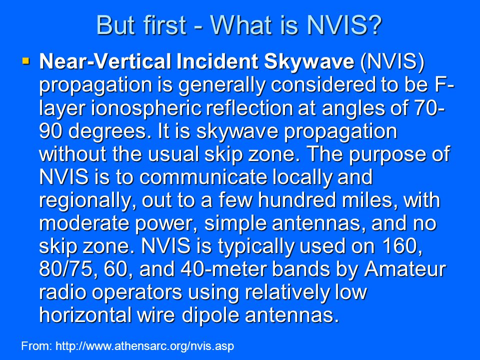 But first - What is NVIS