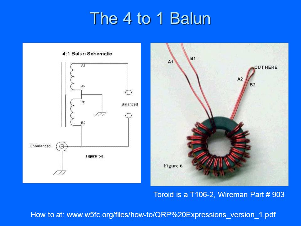 The 4 to 1 Balun Toroid is a T106-2, Wireman Part # 903
