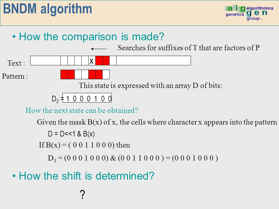 BNDM algorithm How the comparison is made