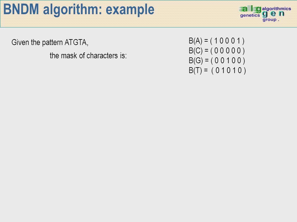 BNDM algorithm: example