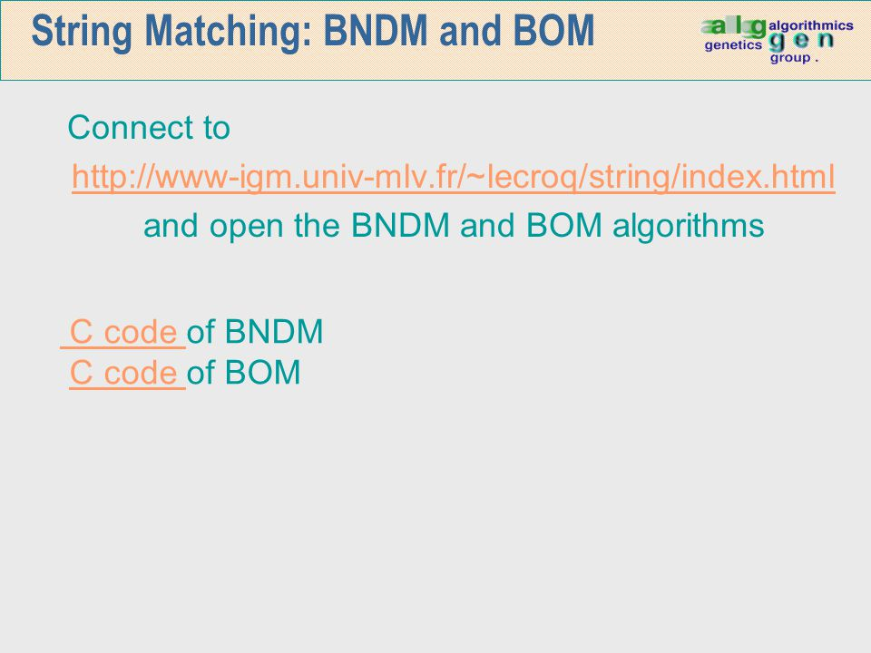 String Matching: BNDM and BOM