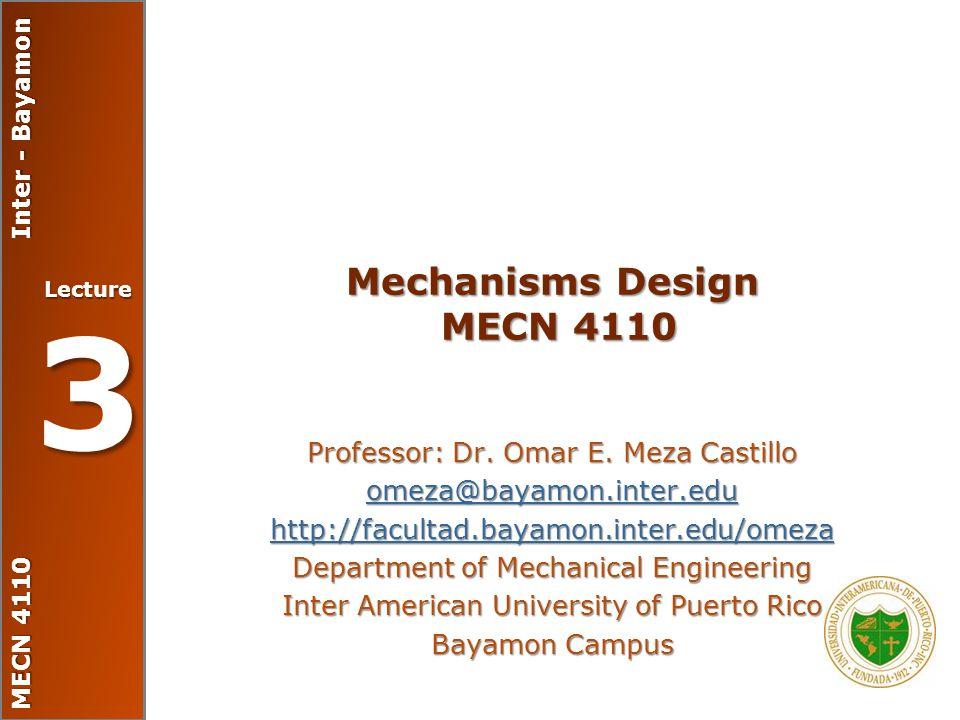 Mechanisms Design MECN 4110