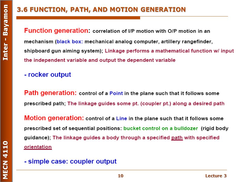 3.6 FUNCTION, PATH, AND MOTION GENERATION