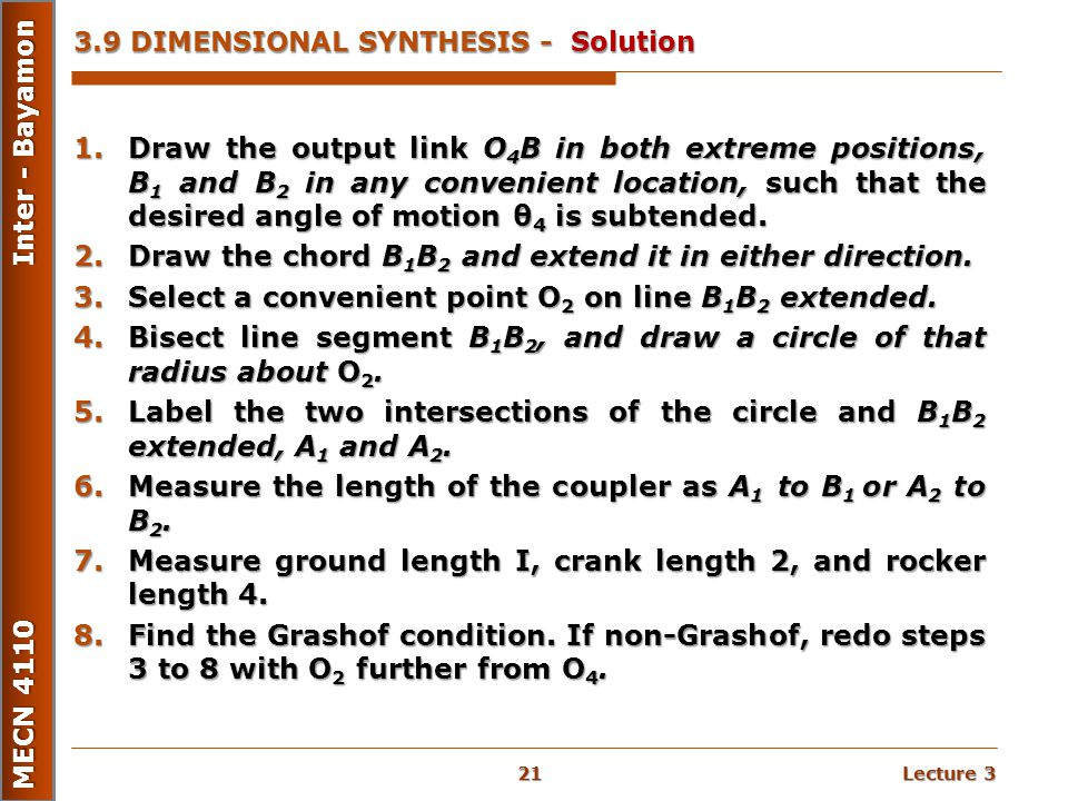 3.9 DIMENSIONAL SYNTHESIS - Solution