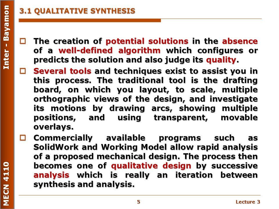 3.1 QUALITATIVE SYNTHESIS