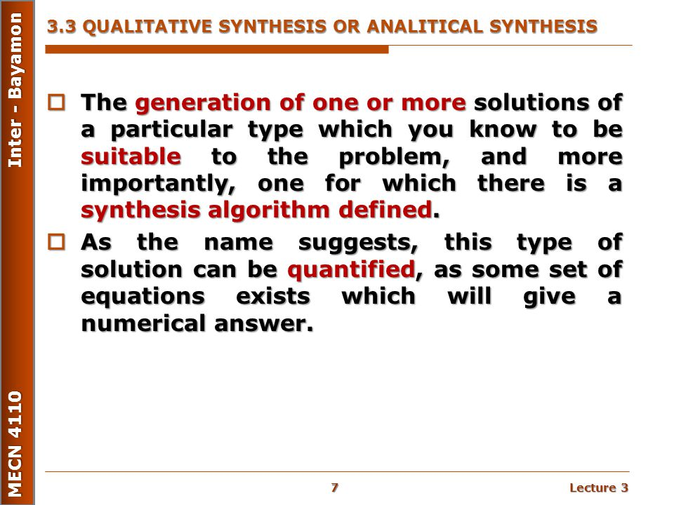 3.3 QUALITATIVE SYNTHESIS OR ANALITICAL SYNTHESIS