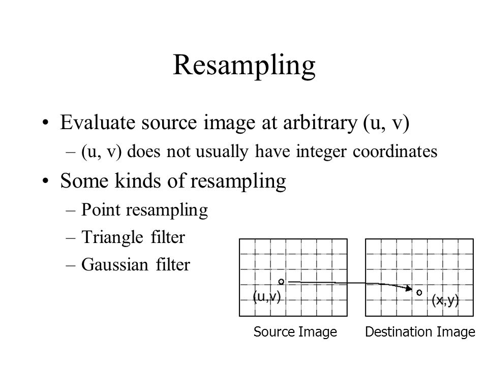Resampling Evaluate source image at arbitrary (u, v)
