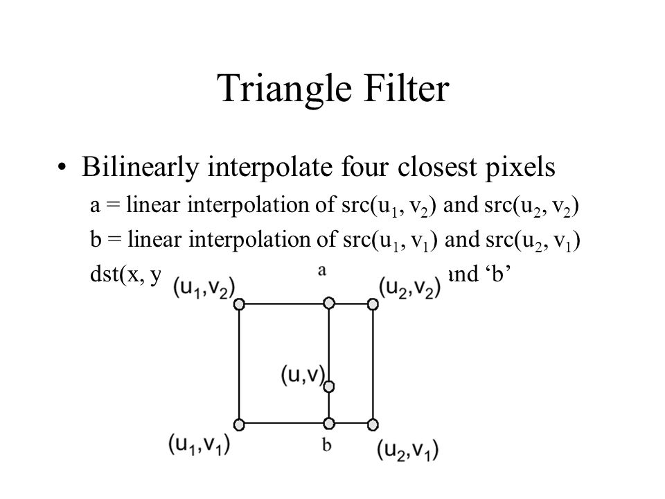 Triangle Filter Bilinearly interpolate four closest pixels