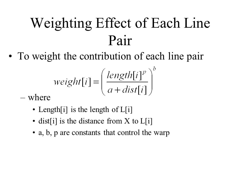 Weighting Effect of Each Line Pair