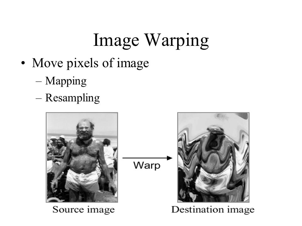 Image Warping Move pixels of image Mapping Resampling