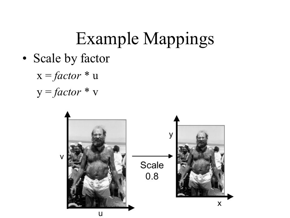 Example Mappings Scale by factor x = factor * u y = factor * v