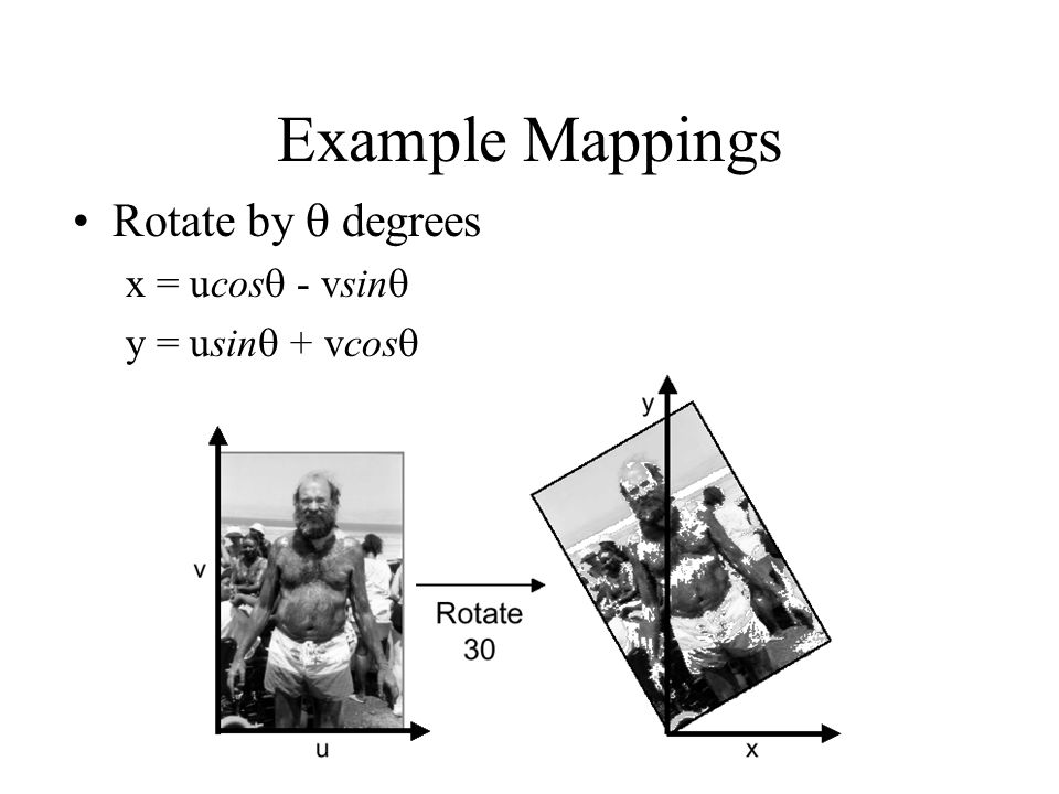 Example Mappings Rotate by  degrees x = ucos - vsin