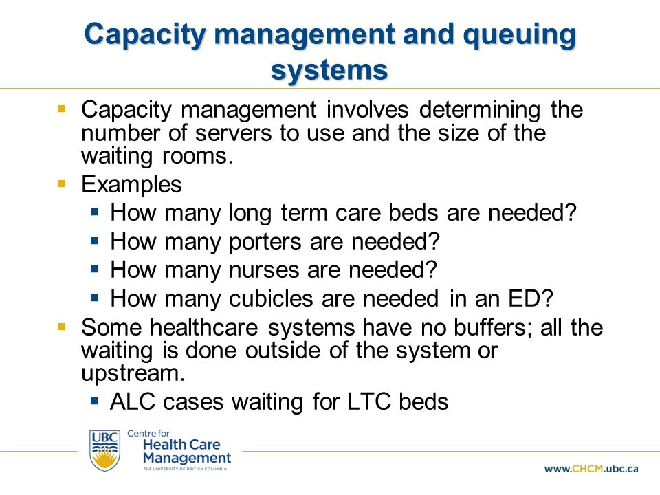 Capacity management and queuing systems