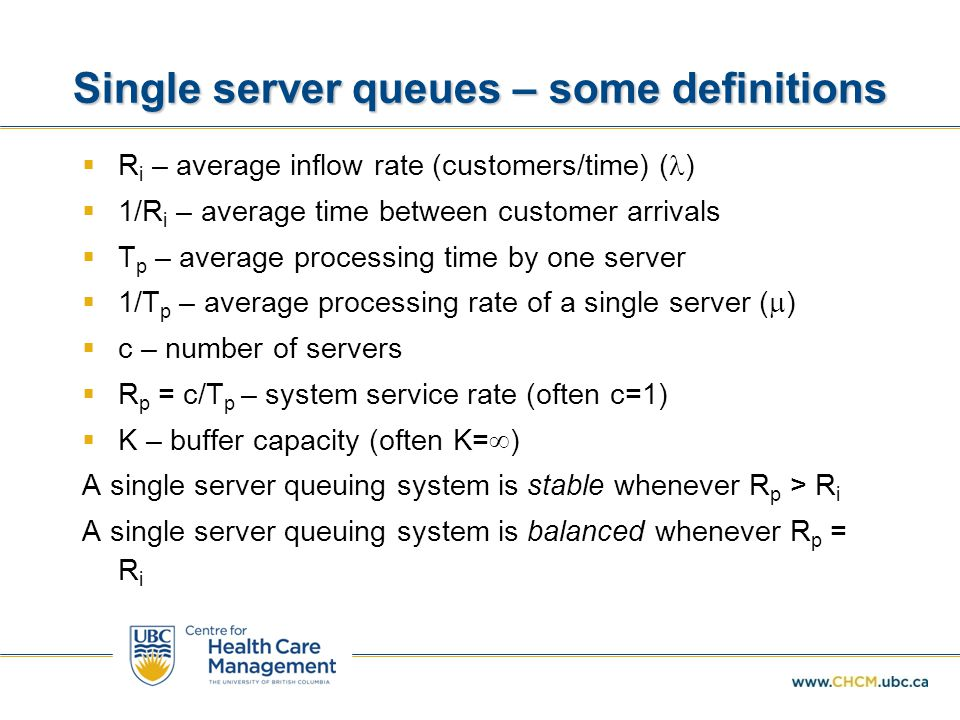 Single server queues – some definitions
