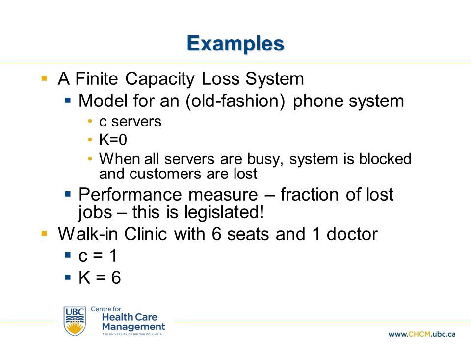 Examples A Finite Capacity Loss System