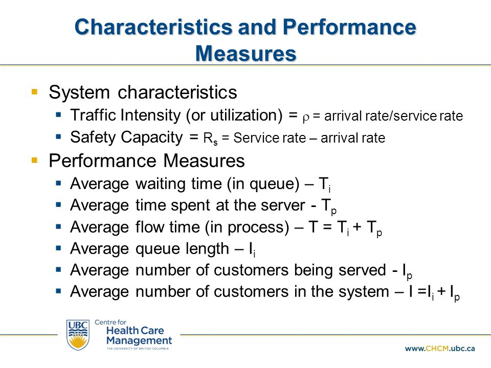 Characteristics and Performance Measures