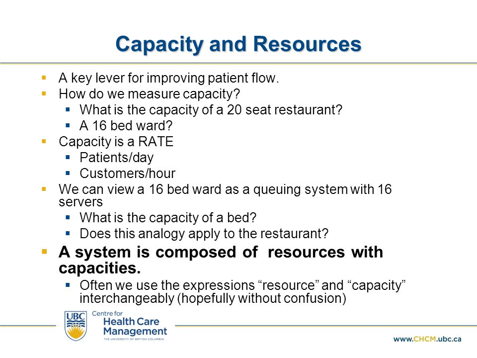 Capacity and Resources