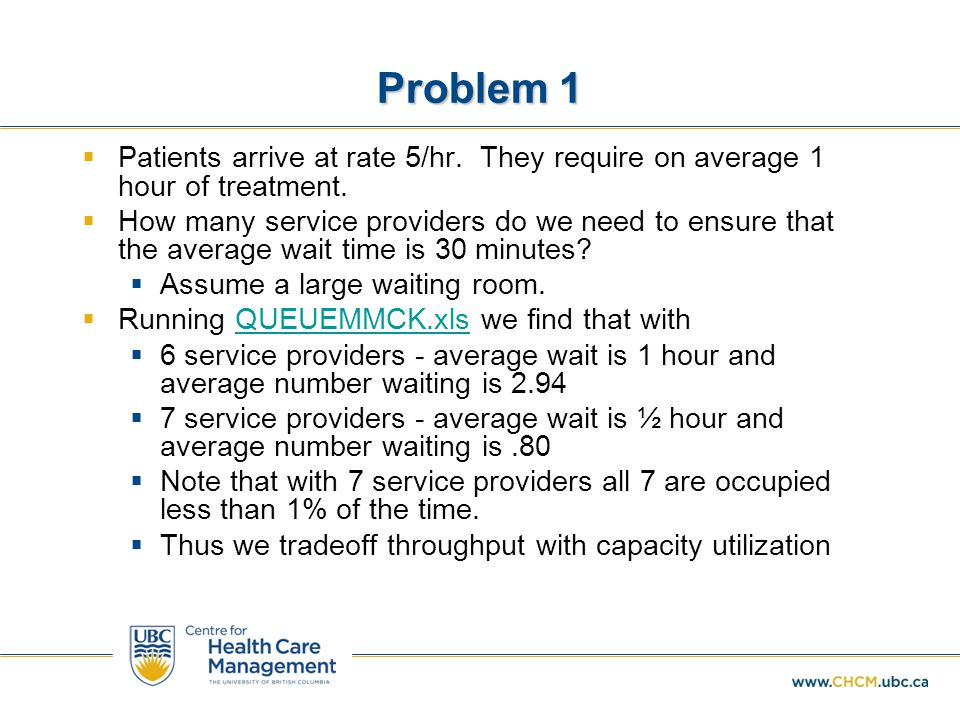Problem 1 Patients arrive at rate 5/hr. They require on average 1 hour of treatment.