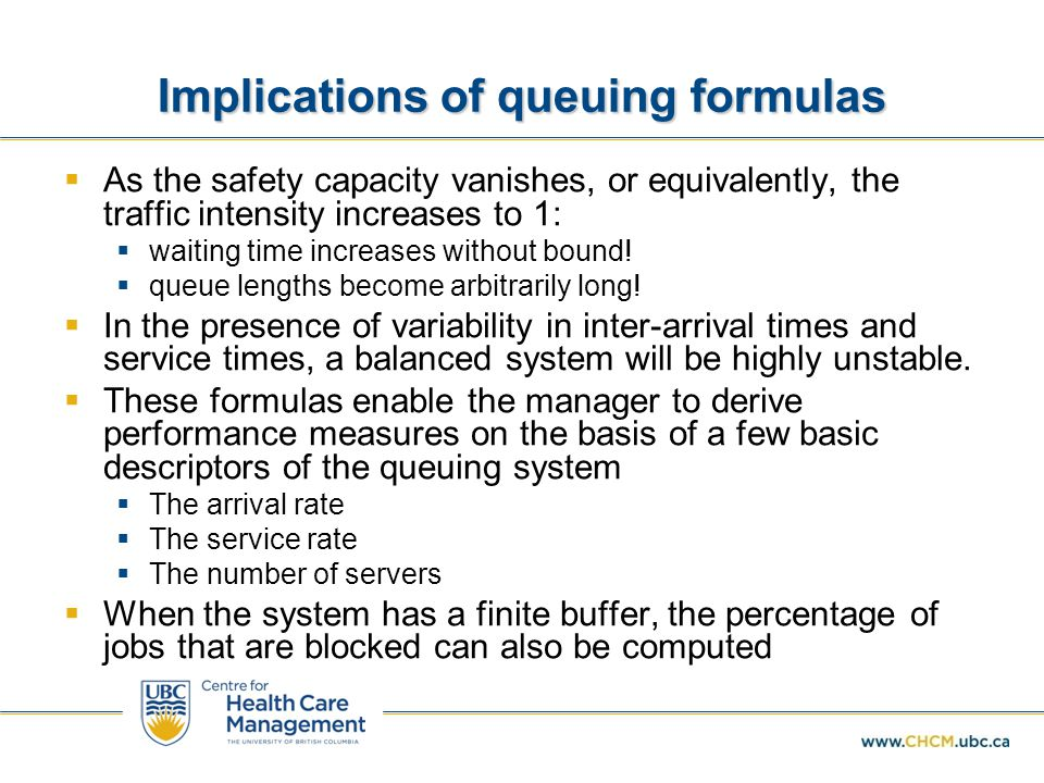 Implications of queuing formulas