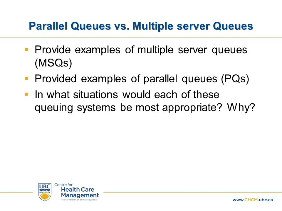 Parallel Queues vs. Multiple server Queues