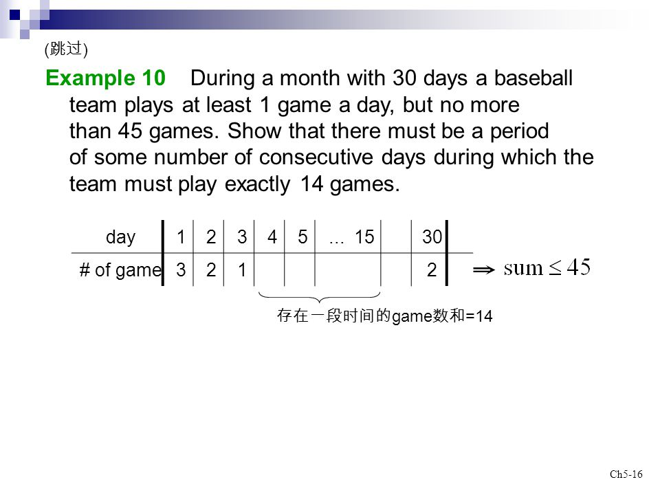 Example 10 During a month with 30 days a baseball
