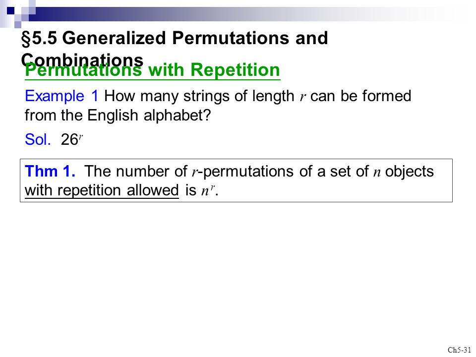 §5.5 Generalized Permutations and Combinations