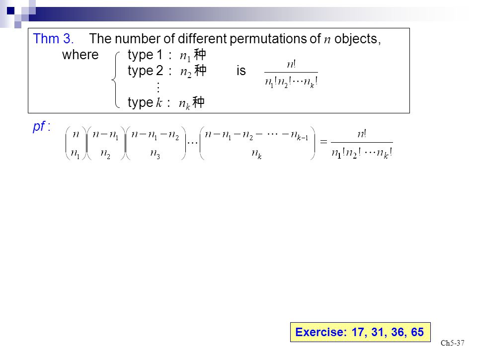 Thm 3. The number of different permutations of n objects,