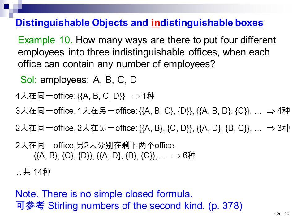 Distinguishable Objects and indistinguishable boxes