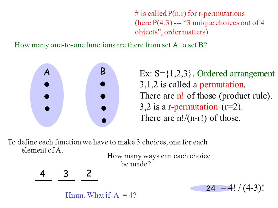 Ex: S={1,2,3}. Ordered arrangement 3,1,2 is called a permutation.